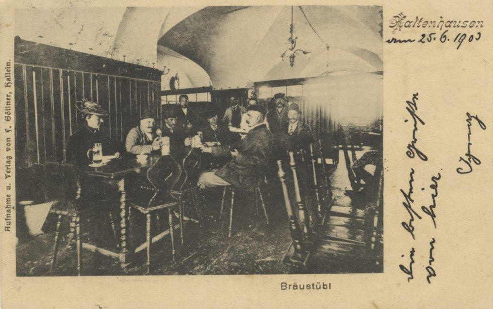 Historische Postkarte vom Bräustübl (c) Keltenmuseum Hallein